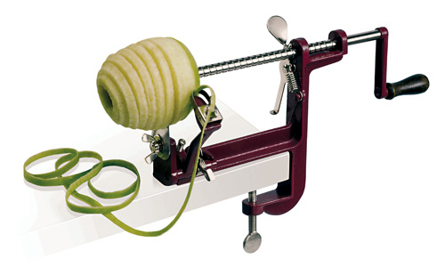 Apple peeler with screw